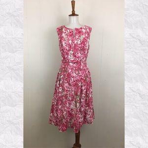 Talbots Floral Sleeveless Linen A-Line Dress